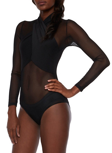 Mesh Bodysuit with Crossover Detail,BLACK,large