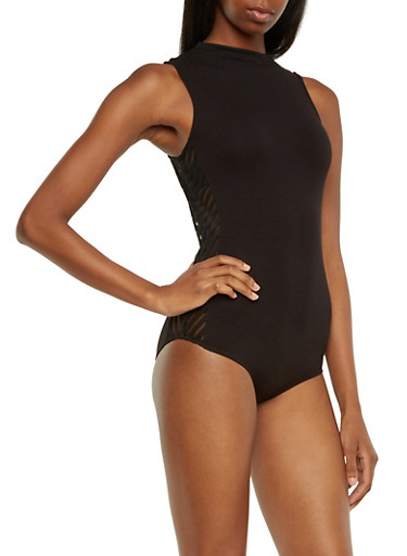 Jersey Bodysuit with Shadow Stripe Sides,BLACK,large