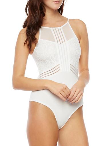 Sleeveless Bodysuit with Mesh and Lace Panels,WHITE,large
