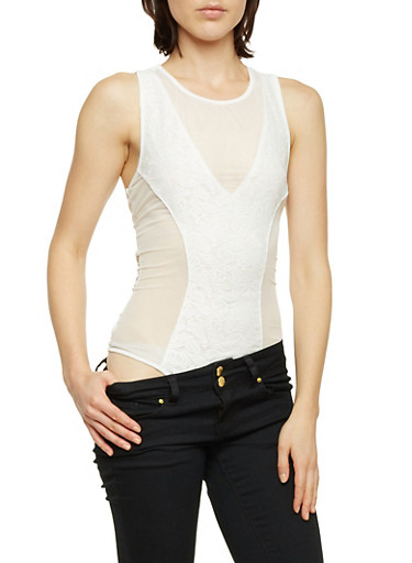 Sleeveless Mesh Bodysuit with Lace Panel,WHITE,large