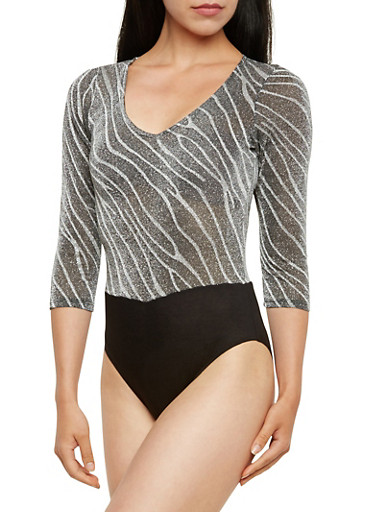 Metallic Knit Bodysuit in Zebra Print,SILVER/BLK,large