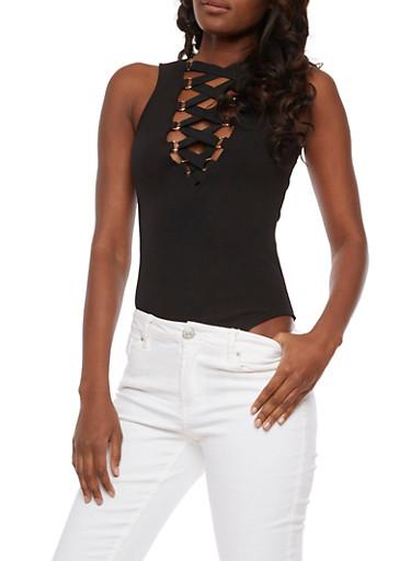 Sleeveless Lace Up Bodysuit,BLACK,large