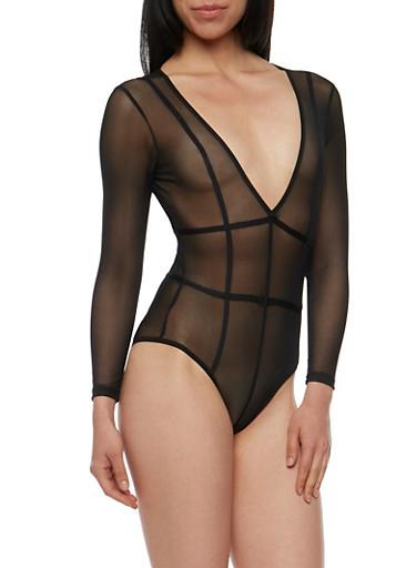 Long Sleeve Caged Mesh Bodysuit,BLACK,large