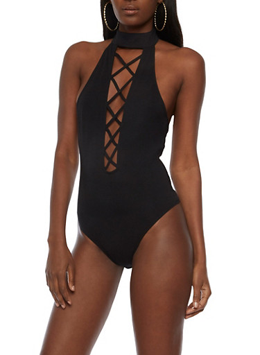 Caged Neck Open Back Bodysuit,BLACK,large