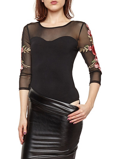 Mesh Insert Bodysuit with Floral Applique Sleeves,BLACK,large