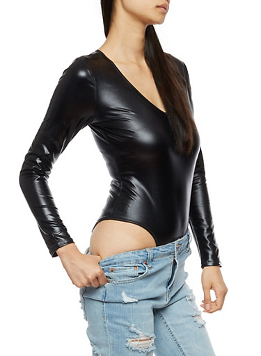Long Sleeve Faux Leather Bodysuit,BLACK,large