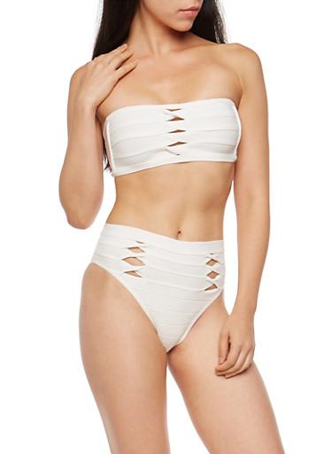 Twisted Bandage Two Piece Bodysuit,WHITE,large