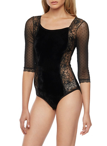 Velvet Bodysuit with Lace and Mesh Paneling,BLACK,large