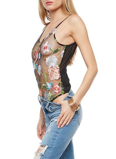 Embroidered Floral Mesh Bodysuit,BLACK,large