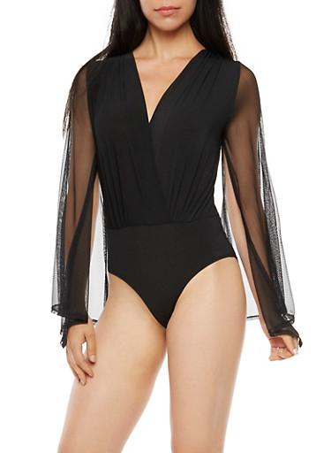 Mesh Bell Sleeve Bodysuit,BLACK,large