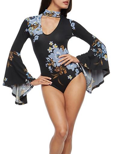 Floral Long Bell Sleeve Keyhole Bodysuit,BLACK,large