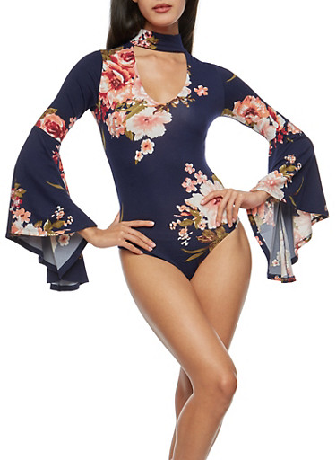 Floral Long Bell Sleeve Keyhole Bodysuit,NAVY,large