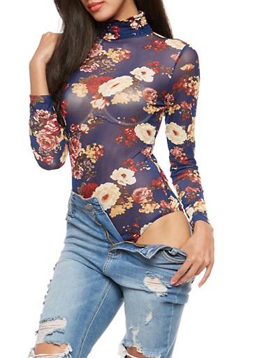 Smock Neck Floral Mesh Bodysuit,NAVY,large