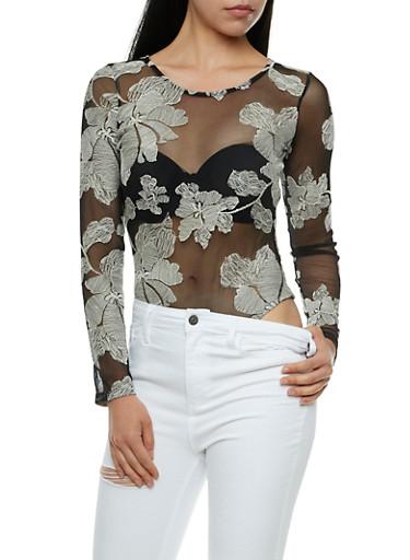 Floral Embroidered Mesh Bodysuit,BLACK/IVORY,large