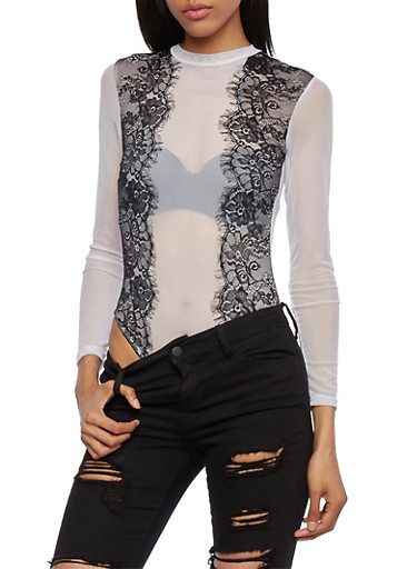 Mesh Bodysuit with Lace Paneling,WHT-BLK,large