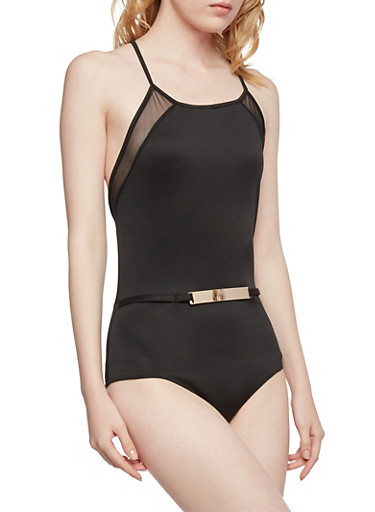 Sleeveless Bodysuit with Faux Belt Accent,BLACK,large