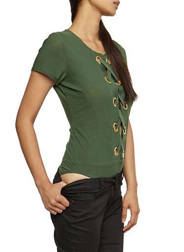 Lace Up Grommet Bodysuit,OLIVE,large