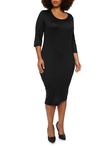 Plus Size Midi Dress in Bodycon Fit,BLACK,large
