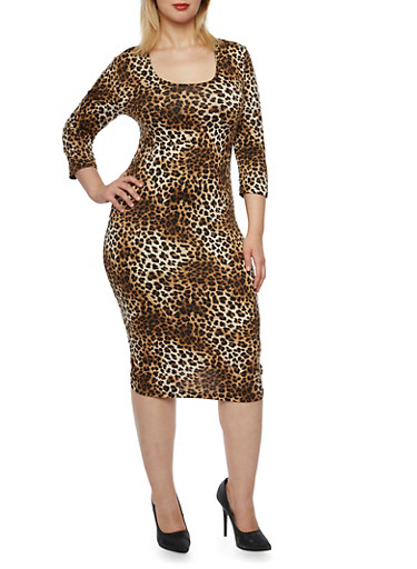 Plus Size Leopard Print Dress with Scoop Neck,BROWN,large