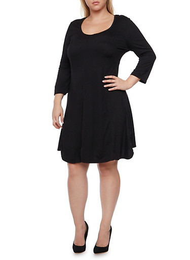 Plus Size Solid Swing Dress with Three Quarter Sleeves,BLACK,large