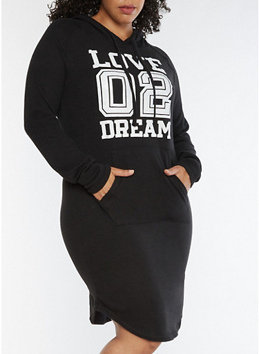 Plus Size Love Dream Graphic Hooded Dress,BLACK,large