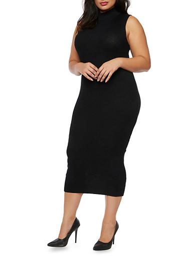 Plus Size Sleeveless Midi Dress with Mock Neck,BLACK,large