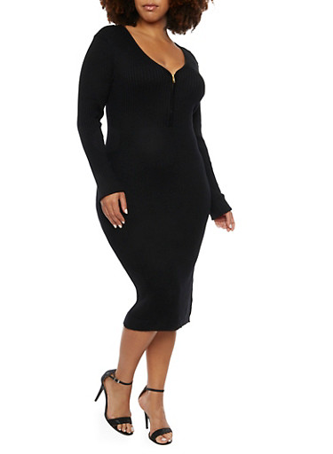 Plus Size Rib Knit Dress with Zip V Neck,BLACK,large