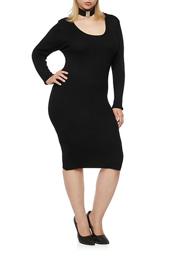 Plus Size Ribbed Dress with Crisscross Back,BLACK,large