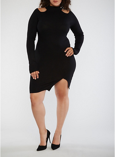 Plus Size Ribbed Cold Shoulder Bodycon Dress,BLACK,large
