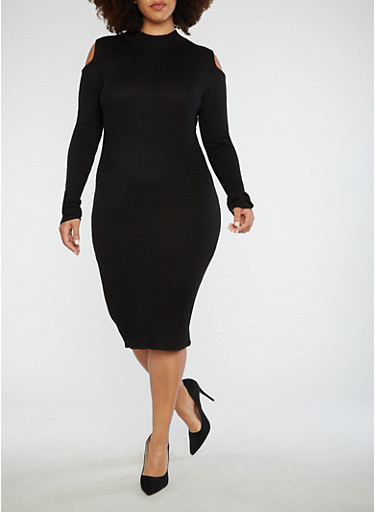 Plus Size Ribbed Knit Bodycon Dress,BLACK,large