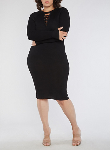 Plus Size Long Sleeve Ribbed Knit Midi Dress,BLACK,large