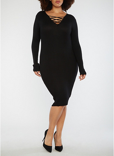 Plus Size Lace Up Sweater Dress,BLACK,large