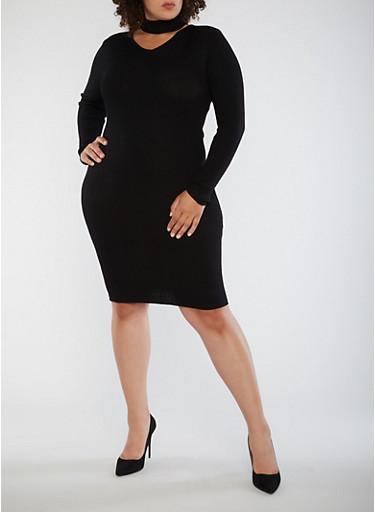 Plus Size Ribbed Knit Choker Neck Dress,BLACK,large