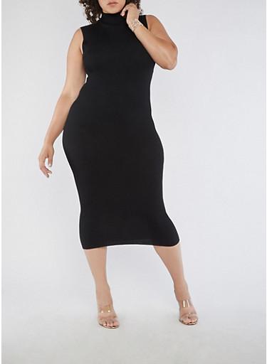 Plus Size Sleeveless Ribbed Knit Dress,BLACK,large