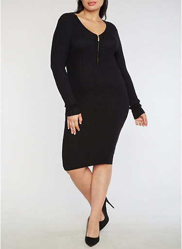 Plus Size Half Zip Ribbed Knit Dress,BLACK,large