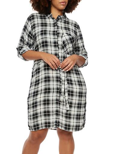 Plus Size Plaid Shirt Dress,BLACK/WHITE,large
