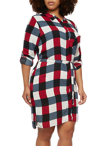 Plus Size Plaid Shirt Dress,GRAY,large