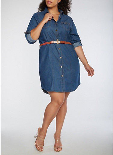 Plus Size Button Front Denim Dress,DARK WASH,large