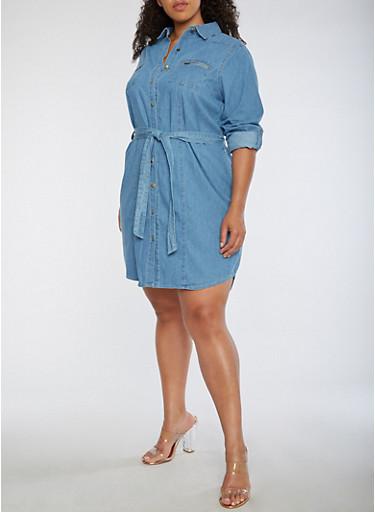 Plus Size Button Front Denim Dress,MEDIUM WASH,large