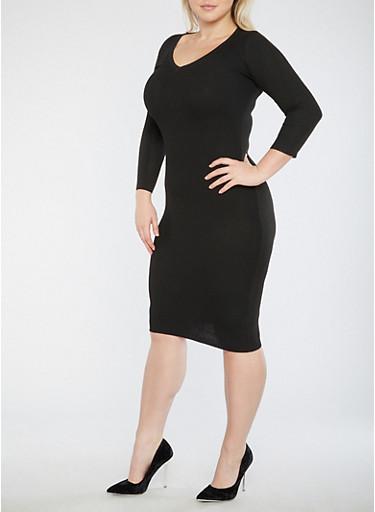 Plus Size Open Back Sweater Dress,BLACK,large