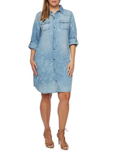 Plus Size Chambray Shirt Dress,LIGHT WASH,large