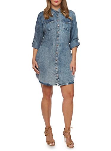 Plus Size Acid Wash Shirt Dress,BLUE,large