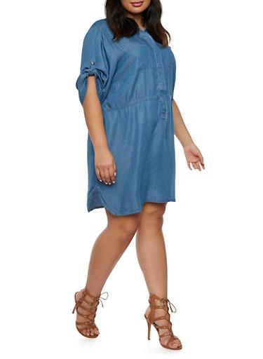 Plus Size Chambray Dress,MEDIUM WASH,large