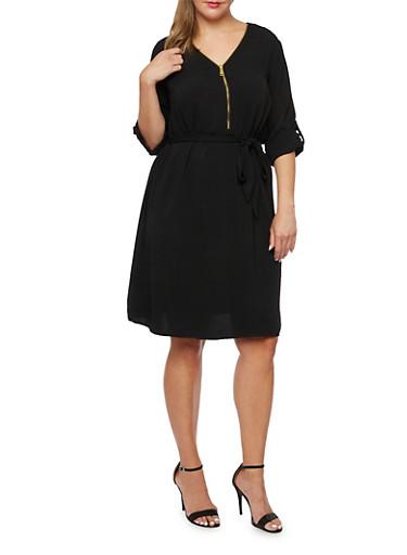 Plus Size Shift Dress with Waist Cinch,BLACK,large