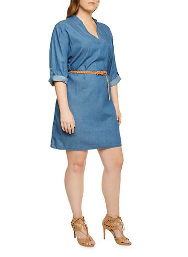 Plus Size Denim Dress with Removable Belt,MEDIUM WASH,large