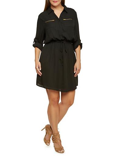Plus Size Crepe Dress with Drawstring Waist,BLACK,large