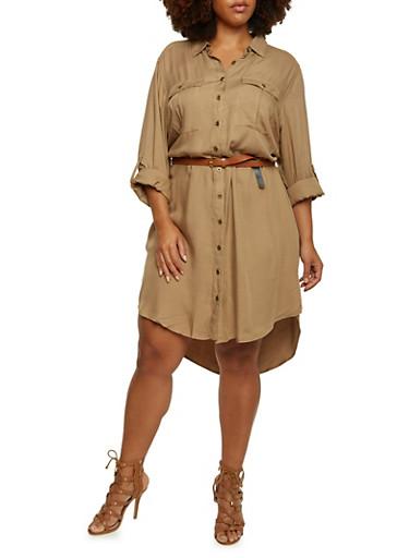 Plus Size Belted Shirt Dress,KHAKI,large