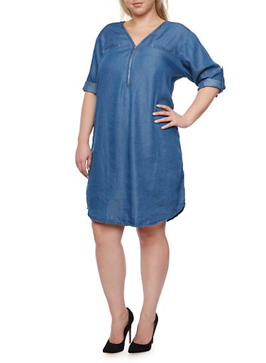 Plus Size Chambray Shirt Dress with Zip Front,DENIM,large