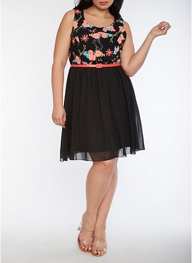 Plus Size Floral Belted Skater Dress,BLACK,large