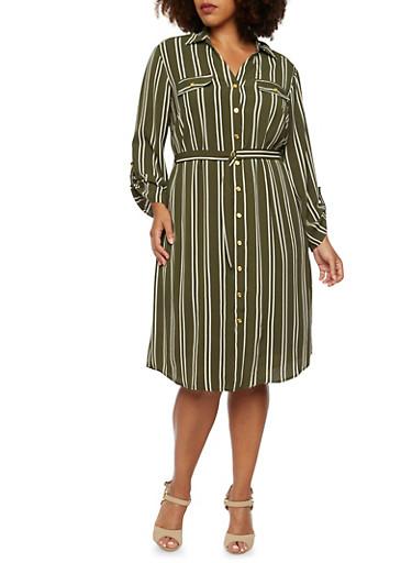 Plus Size Striped Shirt Dress with Belt,OLIVE,large